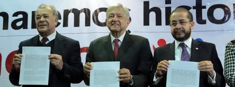 Formalizan coalición Morena, PES y PT